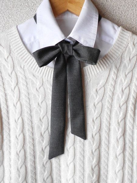 Reversible Dark Gray Striped Gray Bow Necktie / by BlumArt