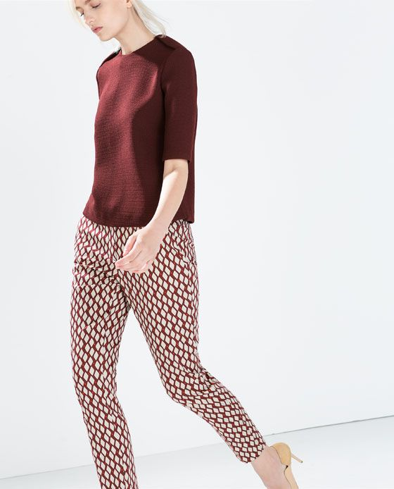 ZARA - WOMAN - GEOMETRIC PRINT TROUSERS