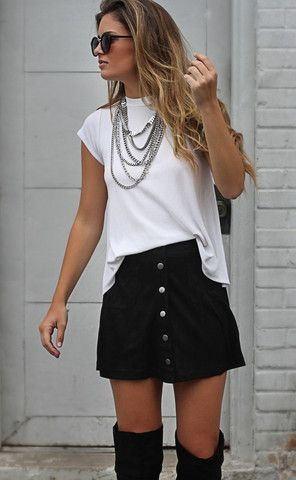 Absolutely love this black suede skirt!