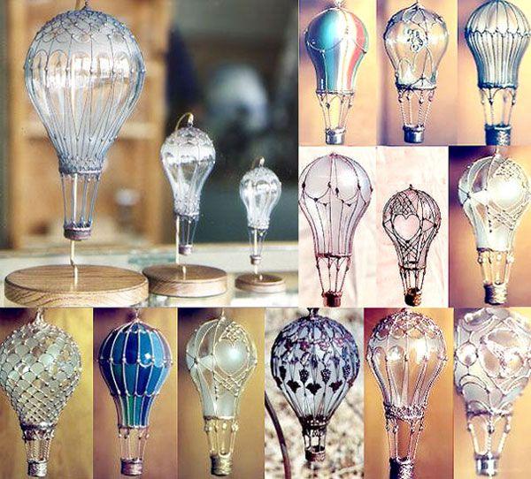 deco-recyclage-ampoules-relookees-en-mongolfieres tellement poétique!