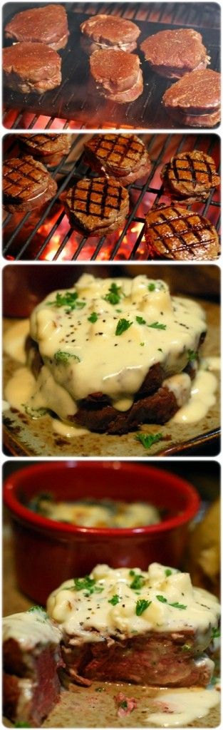 Beef Fillet with Gorgonzola Sauce.  Basic sauce but if you're on this board, you get it!  I can't stop thinking about it
