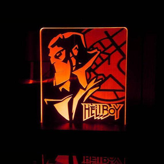 Hellboy comic book superhero Acrylic LED light sign, led display sign, led lite sign, led night light, LED sign, LED lamp