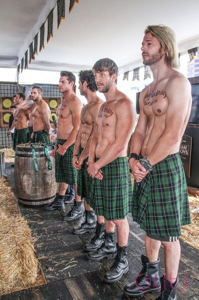 Naked men in plaid