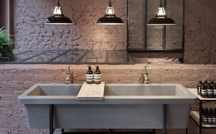 Our classic style concrete basin for Aesop Marylebone. #concrete #retaildesign