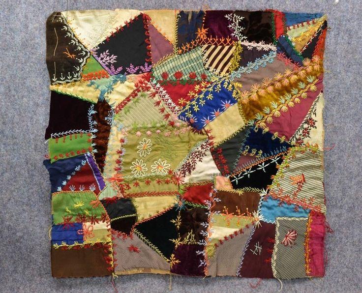 Antique Crazy Quilt Sampler Patch Silk Velvet Patchwork