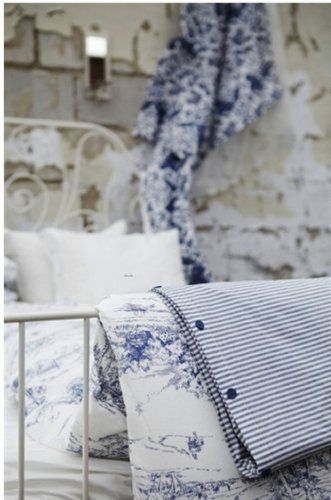 IKEA EMMIE LAND QUEEN Duvet COVER Pillowcases Set BLUE WHITE Toile FRENCH Design DOUBLE FULL
