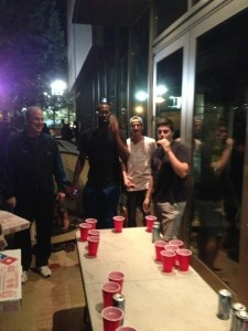 UCLA coach Ben Howland and freshman Shabazz Muhammad worked on jump shots in a unique way recently -- by playing beer pong, of course.