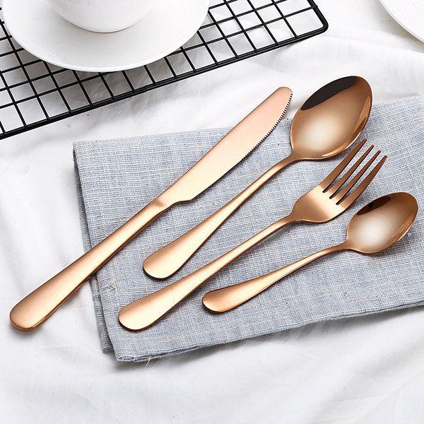 4 Pcs/Set Dinnerware Set Kitchen Food Tableware Colorful Western Steak Fork Spoon