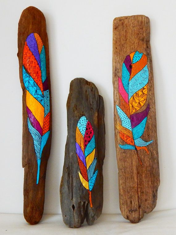 Hand painted driftwood feather by Malu Castro. 3.5 by ColorfulMalu