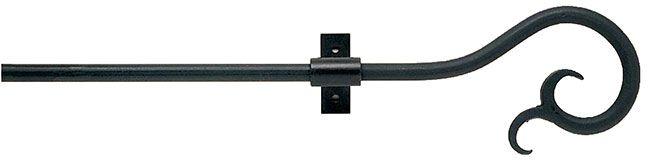 12mm Classic Wrought Iron 100cm Curtain Pole Filigree Black