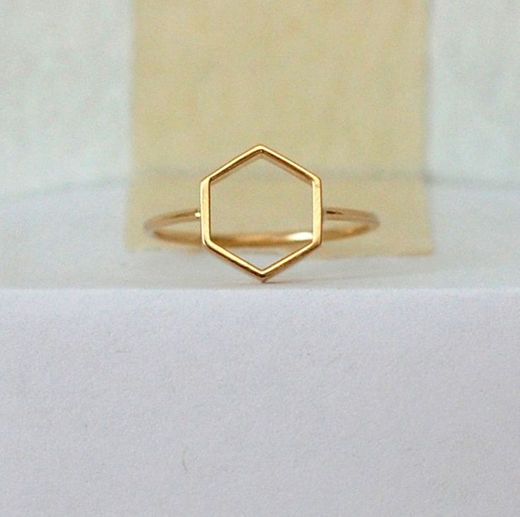 MOCIUN, HEXAGON RING: i want a whole collection of regular polygon jewelry a good hexagon is so hard to find.
