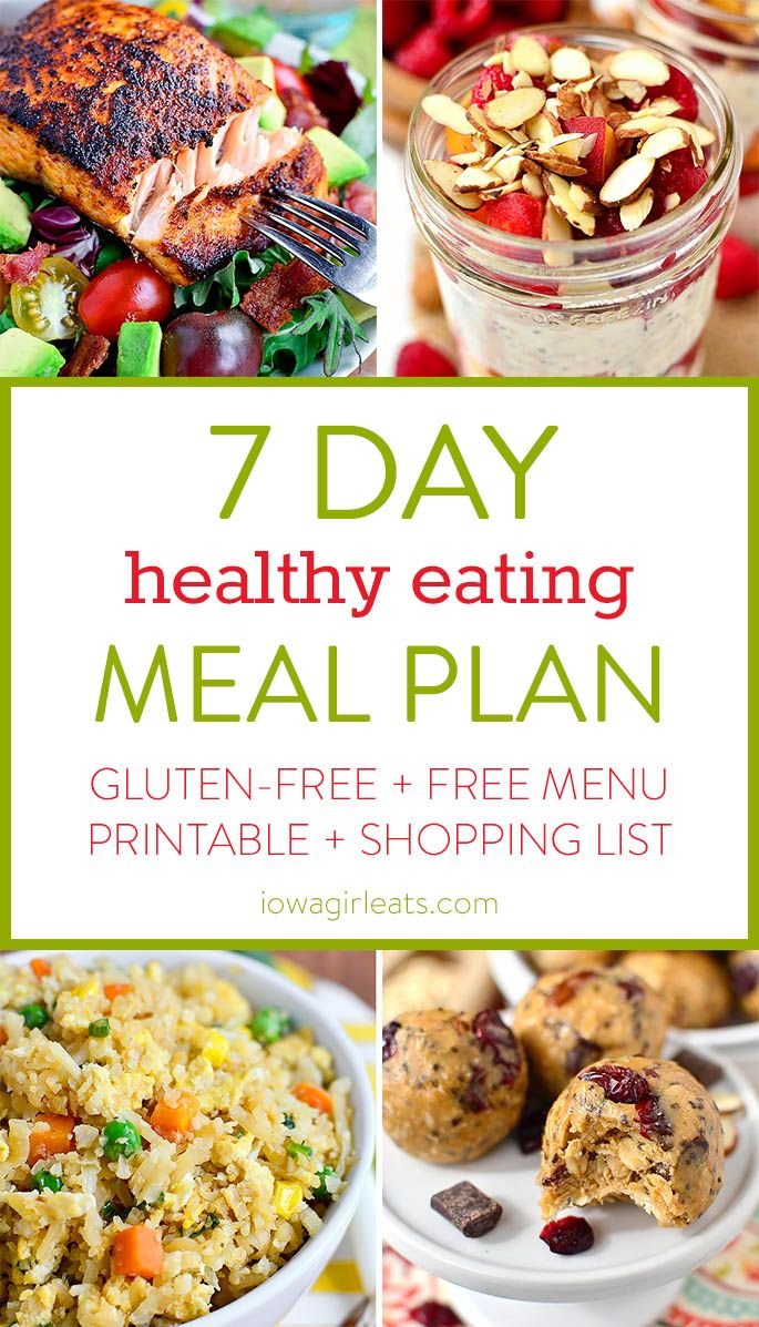 7 Day Healthy Eating Meal Plan with gluten-free breakfast, lunch, dinner and snack recipes, plus a printable menu and shopping list! | iowagirleats.com