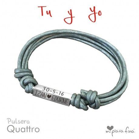 Pulsera CUATTRO, en plata de ley.  Pulsera grabada por 4 lados como tu desees... #joyasquehablandeti #miplatafina