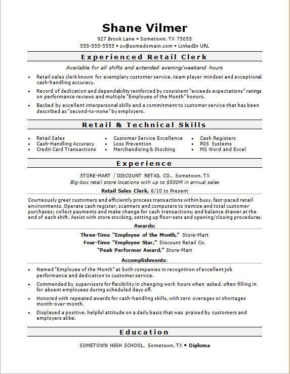 Retail Sales Clerk Resume Sample Monster Proposal Surat Tulisan