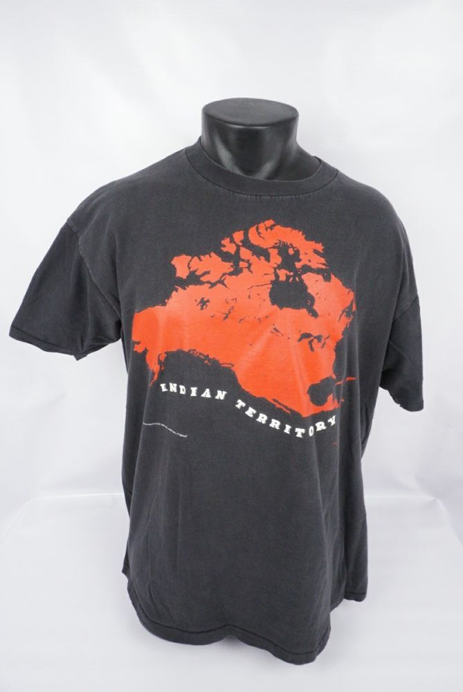 Vintage Indian Territory Minimum Wage Art Black Graphic SS T-Shirt Adult Size XL #OneitaPowerT #GraphicTee