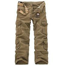 4 цвета мужские военный много вкладыш брюки-карго свободного покроя прямой длинная багги на открытом воздухе брюки большие размер(China (Mainland))