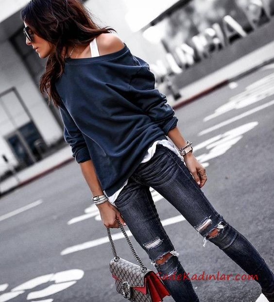 2019 Fitness Combs Navy Blue Ripped Skinny Pants Navy Blue Single Shoulder Light Blouse