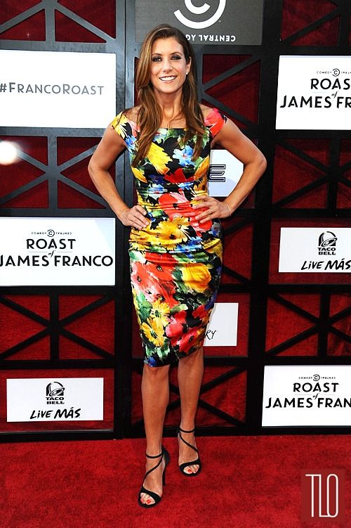 Kate Walsh attends the Comedy Central Roast of James Franco in Culver City, California in a Naeem Khan dress paired with Stuart Weitzman sandals and Shamballa Jewels stud earrings