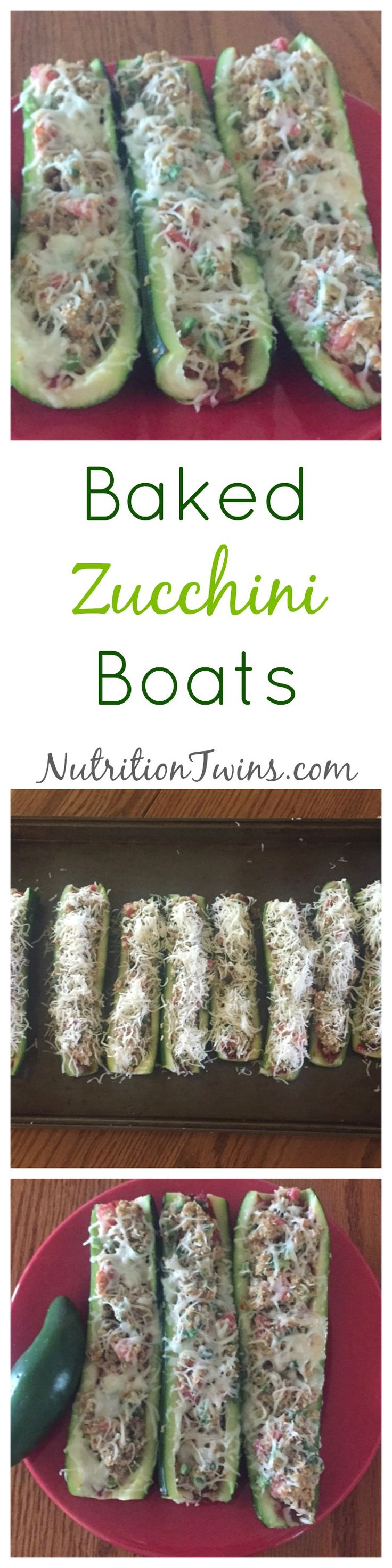 Baked Zucchini Boats | Only 114 Calories | Delicious way to get veggies & protein | Great satisfying appetizer to eat less at the meal | For Nutrition & Fitness Tips & RECIPES please SIGN UP for our FREE NEWSLETTER NutritionTwins.com