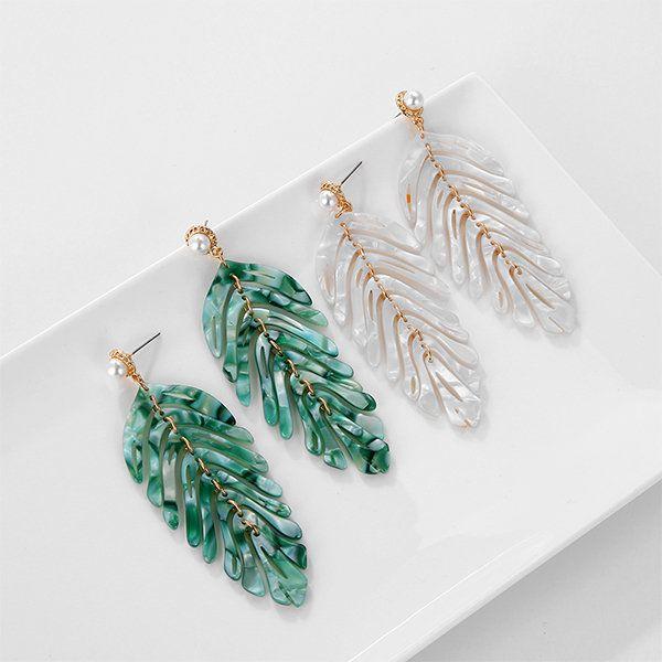 Art Deco Leaf Earrings Green Palm Plant Drop Silver Hook Vintage Style Lady Gift