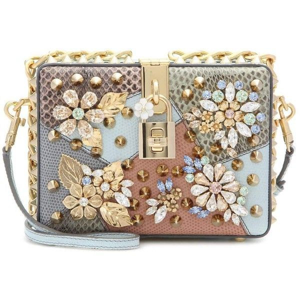 Dolce  Gabbana Dolce Embellished Caiman Leather Box Clutch found on Polyvore featuring bags, handbags, clutches, bolsa, multicoloured, dolce gabbana handbag, hard clutch, dolce gabbana purse, brown leather handbags and leather box clutch