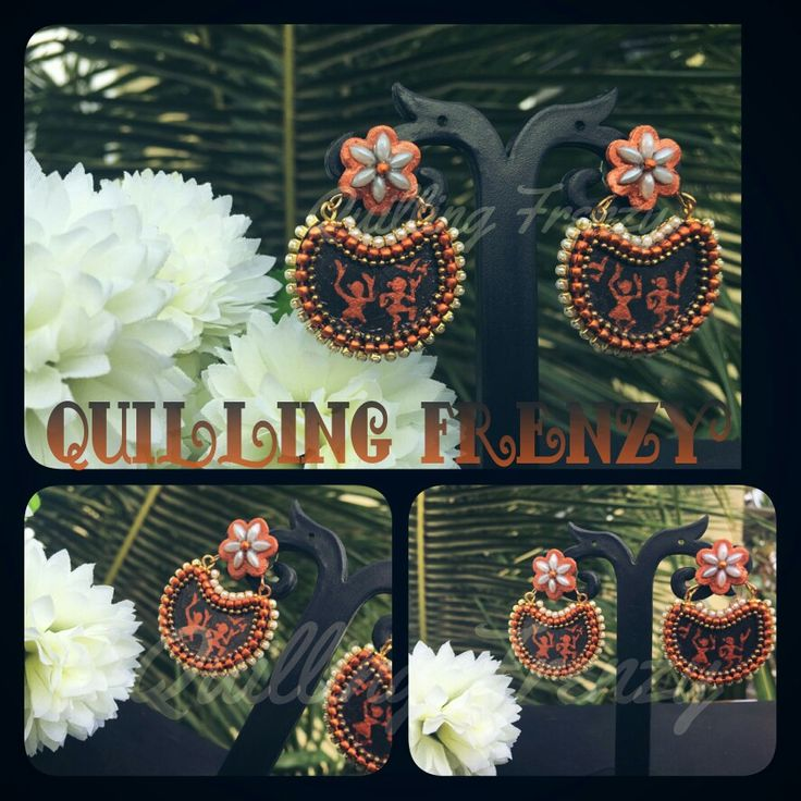 Hand painted warli art chandbali earrings..   #quillingfrenzy #paperquilling #quilling #paper #paperbase #chandbali #black #copper #warli #warliart #punchcraft #handmade #ecofriendly #danglers #rhinestones #ballchains #pearls