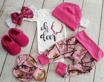 newborn baby girl camo coming home outfit www.denimandme.etsy.com