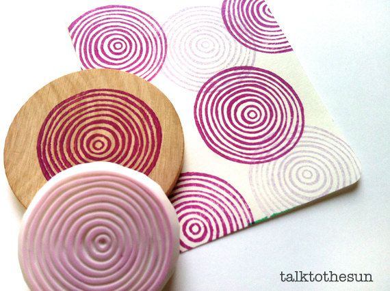 circle rubber stamp. hand carved rubber stamp. hand carved stamp. circle pattern. spiral circles. gift wrapping. diy projects. mounted. on Etsy, $16.00