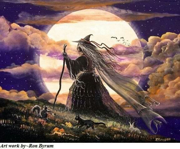 folk art halloween witch walking black cat full moon print rabbit squirrel in collectibles holiday seasonal halloween current other current halloween - Halloween History Witches