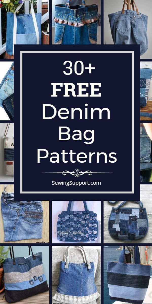 Denim Bag DIY. Over 30 free denim bag & purse patterns