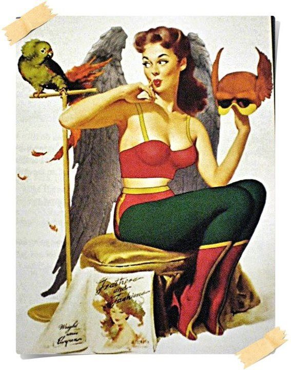 Hawkgirl as a pin-up girl. Love it.