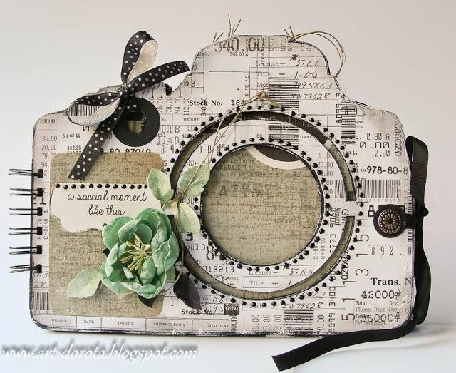 hand crafted mini book from Dorota_mk  ... die cut shape of a camera for covers ... metal rings hold together ... rounded corner rectangle papes ... decorated in multi-media shabby chic styling ... luv it!