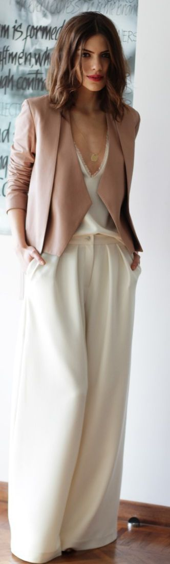 Neutral Colored jacket with a white wide leg trouser