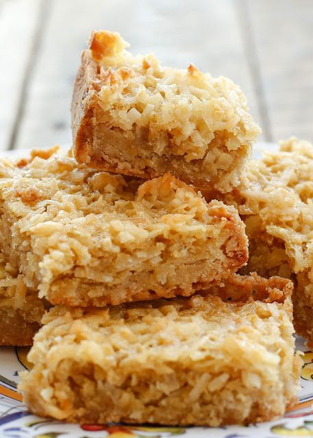 Chewy coconut filling layered onto a buttery shortbread crust; this recipe is so simple to make!!