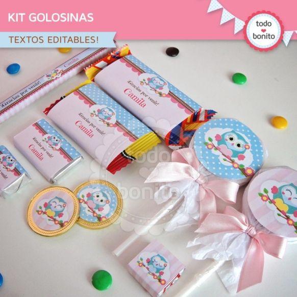 Búhos nena: kit etiquetas de golosinas