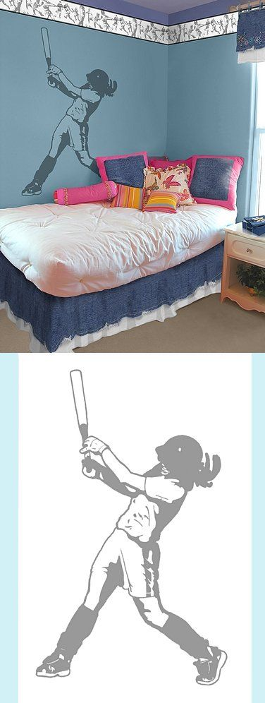 Girl Softball Batter - Sudden Shadows - Wall Sticker Outlet