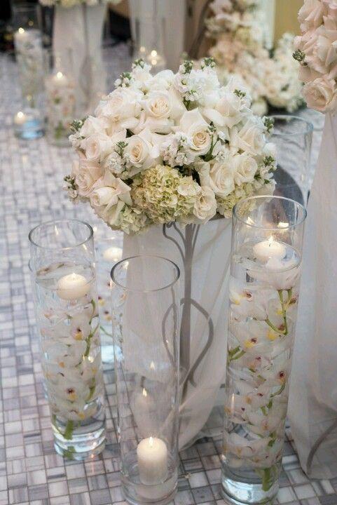 Wedding isle decor up close.