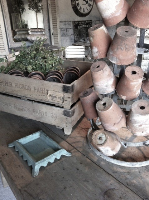 French pots, bottle drying rack & crates (spittoon too)