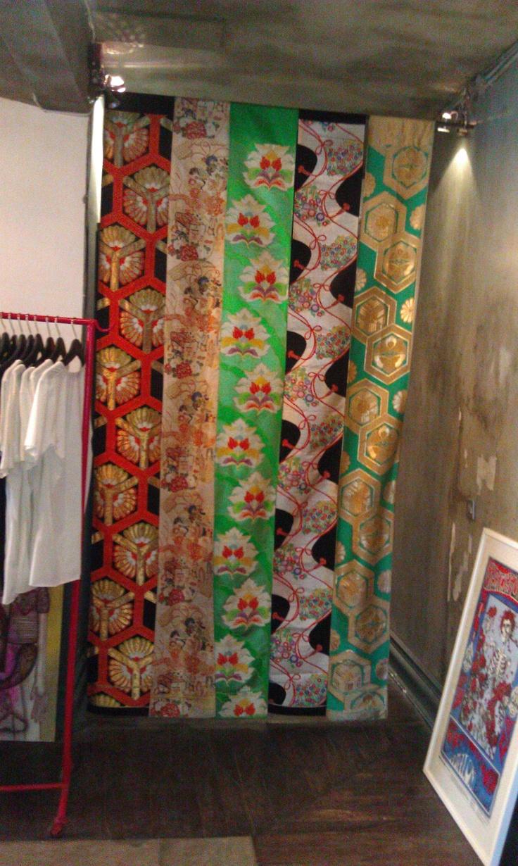 Dressing room curtain in antique kimono fabrics