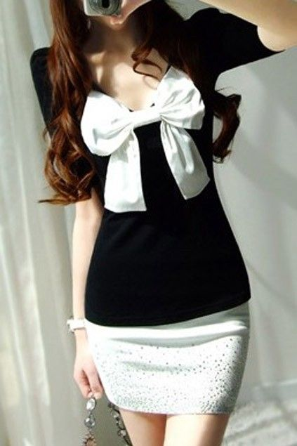 2012 New In Bow Detail Puff Sleeve Jeweled Skirt Sexy Dress