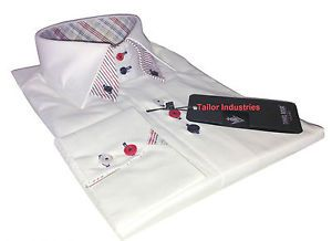 Brand New Mens Formal, Smart Italian Design White Double Collar Slim Fit Shirt