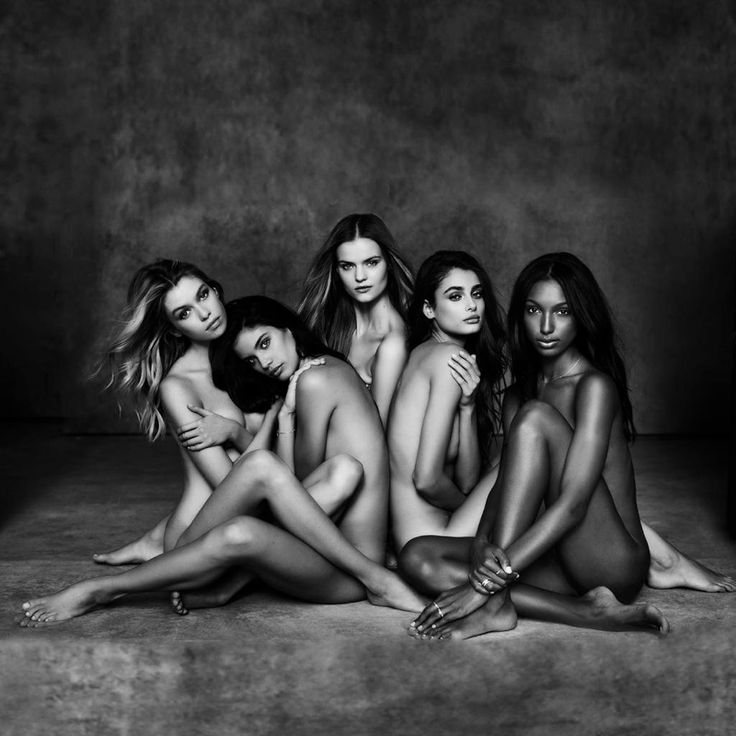 Five of Victoria's Secret's ten new Angels (2015) pose in the buff. Stella Maxwell, Sara Sampaio, Kate Grigorieva, Taylor Hill, and Jasmine Tooks.