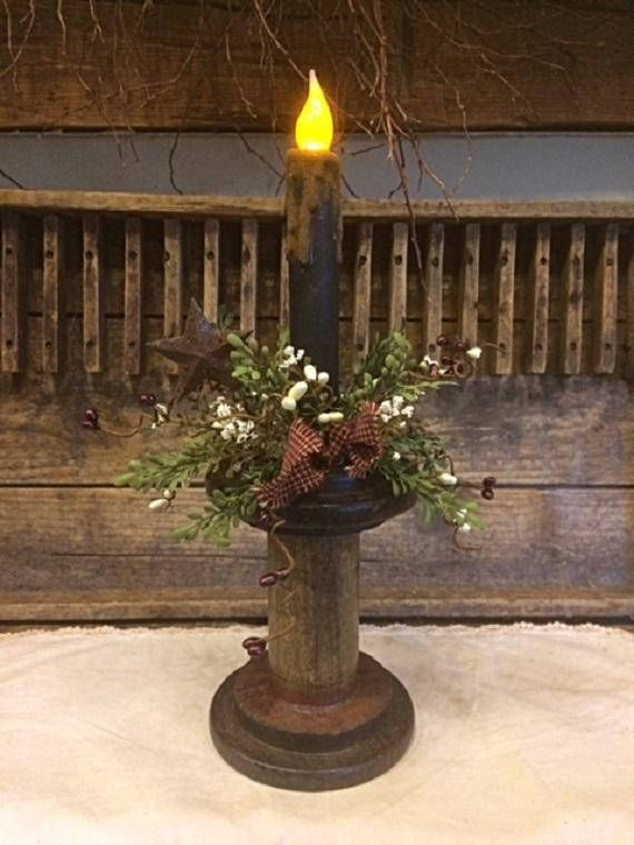 Primitive Antique Wooden Spool Timer Candle Mantle Shelf Home