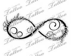 Mother Daughter Tattoos - each girls name on the loops, a heart in the middle???