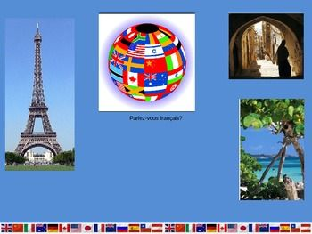This is a 34-slide Power Point that introduces students to the countries of the world that speak French. The presentation is divided into continents (and the Pacific Ocean). It includes the continents of North America, South America, Europe, Africa, and Asia.