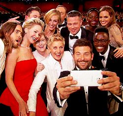 The whole gang posing for the famous selfie at the 2014 Oscars! Ellen poses with Jared Leto, Jennifer Lawrence, Meryl Streep, Julia Roberts, Kevin Spacey, Brad Pitt, Angelina Jolie, Lupita Nyong'o and Bradley Cooper...