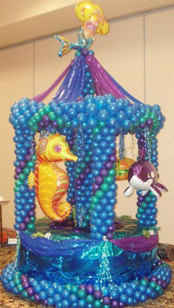 Ocean Theme Carousel Balloon Sculpture    Ocean theme, ocean party, sea party, sea theme, sea creatures, balloon sculpture, balloon animals, under the sea, Celebration Creations