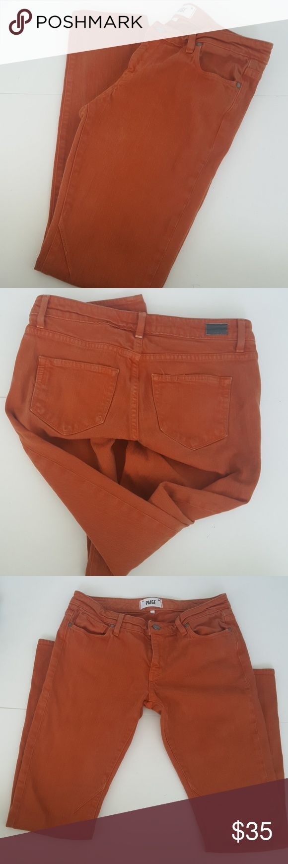 """Paige Troy Boy Dark Orange Skinny Jeans As pictured- darts at inseam. Waist 14 1/2"""" Rise 8"""" Inseam 29 1/2"""" In great pre-loved condition Paige Jeans Jeans Skinny"""
