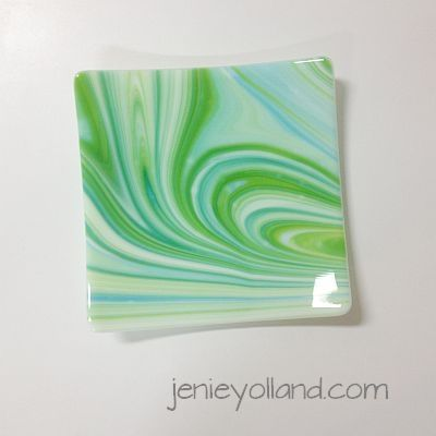 """This swirling art glass piece is titled """"Lagoon"""" its 20cms x 20cms available in other sizes while stocks last. Jenie Yolland"""