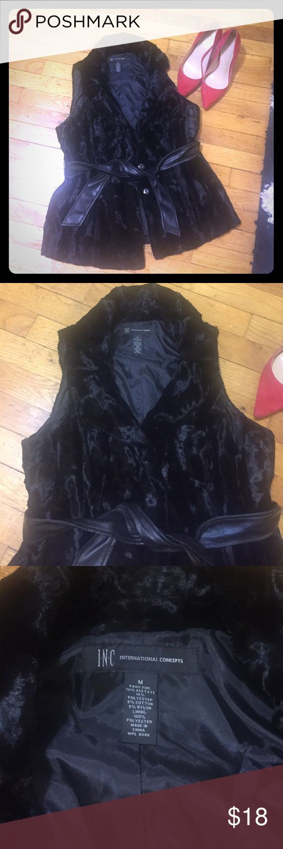 INC black faux fur vest with faux leather belt Beautiful faux fur vest for winter! Not bulky and barely worn Jackets & Coats Vests